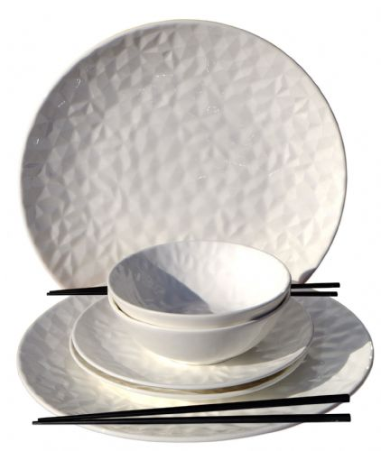 Arctic Shimmer Textured Oriental Dinner set x2